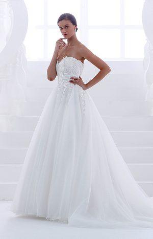 abito da sposa hatore modello no spalline pizzo e organza